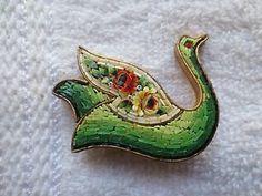 Vintage Micro Mosaic Brooch Swan