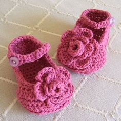CROCHET PATTERN Rose Garden Mary Janes Baby by hollanddesigns