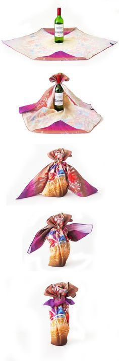 Bottle wrapping #Furoshiki #Gift #Wrapping