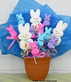 peeps easter bunny candy bouquet. This would be the only way I could every use peeps...for decoration :)