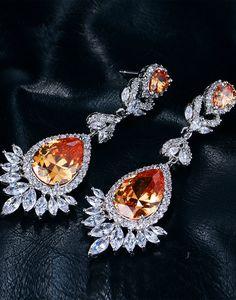 Cercei lungi Amber Chandeliere Amber, Swarovski, Brooch, Earrings, Vintage, Jewelry, Art, Fashion, Ear Rings