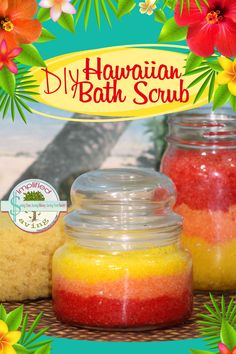 Bring the tropics to your bathroom with this DIY Hawaiian Bath Scrub! It's easy to make and is such a delightful treat! It makes a great gift too! Body Scrub Recipe, Diy Body Scrub, Sugar Scrub Recipe, Diy Scrub, Scrub Shop, Zucker Schrubben Diy, Sugar Scrub Homemade, Homemade Deodorant, Bath Scrub