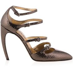Walter Steiger Delice Metallic Strap Pumps ($304) ❤ liked on Polyvore featuring shoes, pumps, strap shoes, pink pumps, high heel court shoes, slip-on shoes and high heel shoes