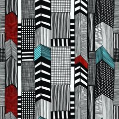Ruutukaava - Marimekko Wallpapers - This stylised city scape design with dashes of blue and red, creates a stunning effect. Printed on a quality non-woven base, this pattern is also available in black and white. Textile Patterns, Textile Design, Color Patterns, Print Patterns, Surface Design, Surface Pattern, Graphisches Design, Pattern Design, Print Design