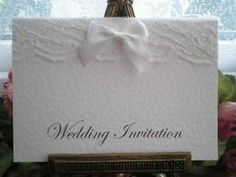 AUTUMN CLEARANCE 50 A6 WHITE HAMMERED CARD LACE SATIN BOW WEDDING INVITATIONS | eBay