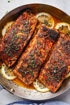 Blackened Salmon with Lemon Butter Sauce – Perfectly seasoned, flaky, and super easy to make, this delicious blackened salmon recipe is fool-proof and ready in under 30 minutes. Baked Salmon Recipes, Fish Recipes, Seafood Recipes, Dinner Recipes, Cooking Recipes, Dinner Ideas, Recipies, Keto Recipes, Healthy Recipes
