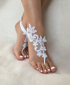 white lace barefoot sandals, FREE SHIP, beach wedding barefoot sandals, belly dance, lace shoes, bridesmaid gift, beach shoes