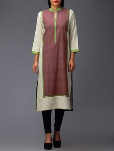Buy Pink Beige Green Front Panel Organic Cotton Tunic Online at Jaypore.com