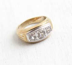 Vintage Art Deco Style 18k HGE Two Tone Rhinestone Ring - Men's Retro Statement Size 9 Hallmarked Uncas Costume Jewelry by Maejean Vintage on Etsy, $34.00