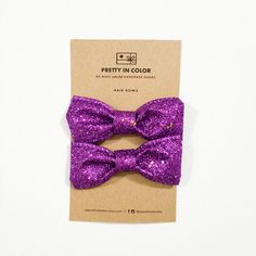 Purple Glitter Hair Bows by soprettyincolor on Etsy