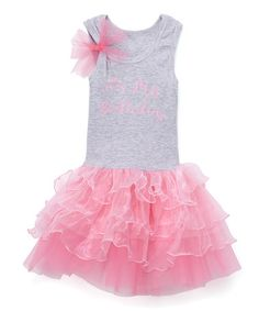 Look what I found on #zulily! Gray & Pink 'My Birthday' Tutu Dress - Infant, Toddler & Girls #zulilyfinds