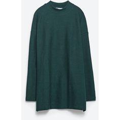Zara Oversized Sweatshirt (155 HKD) ❤ liked on Polyvore featuring tops, hoodies, sweatshirts, green, green top, blue sweatshirt, zara sweatshirt, blue top and oversized sweatshirt