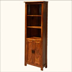 Shaker Solid Indian Rosewood Open 3-Shelf Curio Cabinet