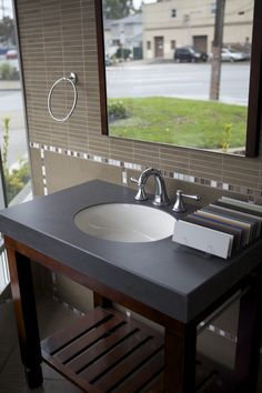 Neolith Basalt Black Bathroom Countertop - Arne recommends this faux stone material for bathrooms etc.