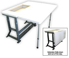 Original Sew Perfect Sewing Table - love this table and extension. Good idea when I build my table. Sewing Room Design, Sewing Room Storage, Sewing Spaces, Sewing Room Organization, Craft Room Storage, My Sewing Room, Sewing Rooms, Craft Rooms, Storage Spaces