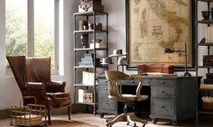 light medium floor stain, iron or bronze fixtures, light gray walls    Rooms   Restoration Hardware