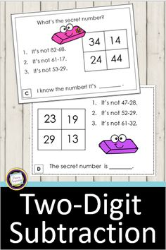 Practice two-digit subtraction with regrouping with this set of 24 math riddle task cards. Riddle cards are engaging and effective practice that your students will love! Use them for math centers, small groups, lesson warm-ups, tutoring, RTI, early finishers, interactive notebooks, and more! This set includes 24 cards, a recording sheet, answer key, and a board game for use in math centers. #secondgrademath #secondgrademathcenters #secondgradesubtraction Third Grade Math Games, Fourth Grade Math, First Grade Math, Grade 1, Activity Centers, Math Centers, Teaching Math, Maths, Teaching Ideas