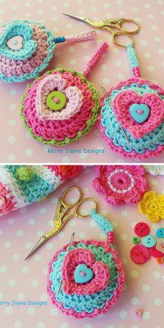 CROCHET PATTERN Scissor Keeper crochet pattern - Pin cushion crochet pattern - Heart crochet pattern