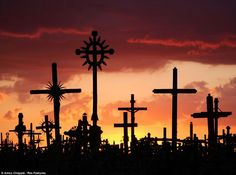 Sunset on crosses