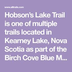 Hobson's Lake Trail is one of multiple trails located in Kearney Lake, Nova Scotia as part of the Birch Cove Blue Mountain Wilderness Area. Fox Lake, Wilderness Trail, Canoe And Kayak, Blue Mountain, Nova Scotia, Birch, Outdoors, Outdoor Rooms, Off Grid