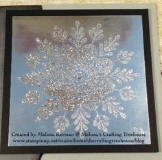 DIY handmade card using Frosted Medallion Stamp Set and Glitter on Silver Foil. Created by Melissa Kerman, Stampin' Up! demonstrator since 2003.