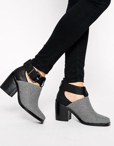 Shellys London Icess Grey Buckle Cut Out Ankle Boots