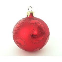 The Reindeer Red Frosted Etched Paisley Vintage Glass Ball Christmas... ($16) ❤ liked on Polyvore featuring home, home decor, holiday decorations, red home decor, deer christmas ornaments, red home accessories, holiday reindeer decorations and glass ball christmas ornaments