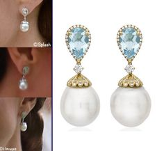 Kiki McDonough earrings, the 'Kiki Classic' Pearl and Blue Topaz Drop Earrings. More