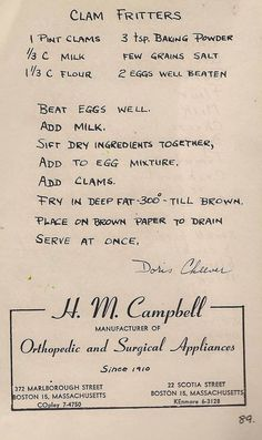 vintage recipes, old-fashioned recipe, grandmother recipe, cooking from scratch, simple ingredient recipes Clam Recipes, Fish Recipes, Seafood Recipes, Cooking Recipes, Lobster Recipes, Kitchen Recipes, Retro Recipes, Vintage Recipes, Recipes