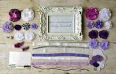 Great idea for a baby shower! Headband Party Kit- Create 10 Headbands, Purple, Lavender, and White, DIY Headband Kit, Baby Shower Headband Kit, Birthday Party Kit. $45.00, via Etsy.