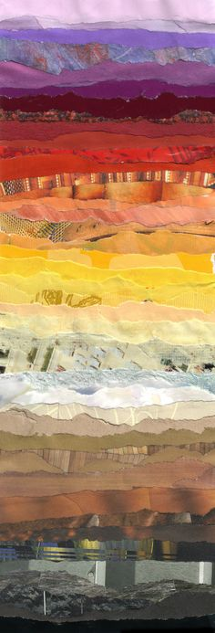 America  by Grace Breyley: torn paper landscape.  could be in fabric also, love the stripes