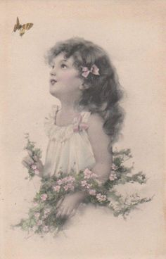 Girl With Flowers And A Butterfly Vintage Art Postcard