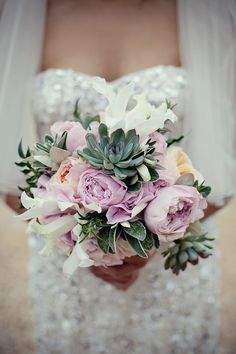 White Iris, Peach English Garden Roses, Pink/Lavender Garden Roses, Pink Hydrangea, Green Succulents | Marianne Taylor Photography