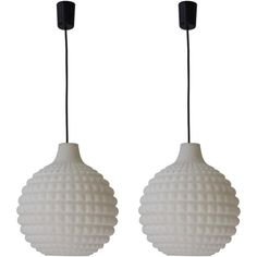 Set of Two Glass Pendant Lights   1stdibs.com