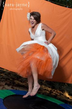 Trampoline Photo Booth! Fun ideas especially with colorful tulle petticoats! LOVE THE DRESS!!!