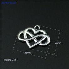 Alta Calidad 20 Unids/lote 20mm * 25mm de la Aleación del Metal Plateado Infinito Endless Love Heart Charm Colgante Para Fabricación de la joyería(China (Mainland))