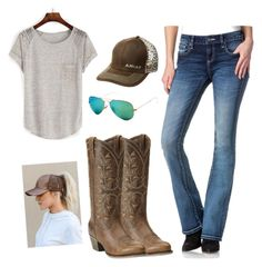 """""""country casual"""" by countrygal1999 ❤ liked on Polyvore featuring Ray-Ban, Miss Me, Ariat and country"""