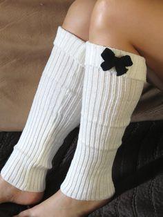 Open Crochet Knit Leg Warmers Boot Socks by DesignerScarvesWorld