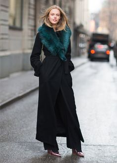 maximum coverup:  black wool maxi coat with faux fur teal collar