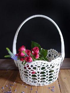 0d0d609f58b Flower Girl Basket Wedding Stiffened Lace Crochet