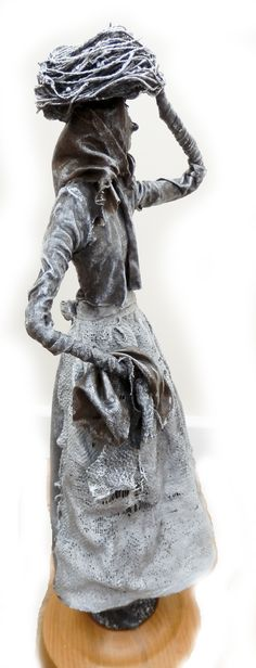 """by Sandra June Originals. """"The Whitby Fishwife"""". This one was on display at the Platform Art Gallery Clitheroe. Local Art Galleries, Sculpture Ideas, Contemporary Sculpture, Textile Art, Fairies, Art Work, My Design, Mixed Media, Art Gallery"""