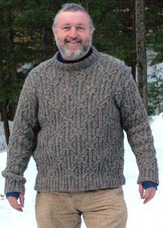 John's Sweater is an all-over knot stitch cabled Aran pullover (S-2XL) skill level: experienced