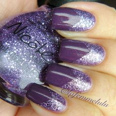 Purple on purple, #zoya Tru and Nicole by #opi One Less Lonely Glitter