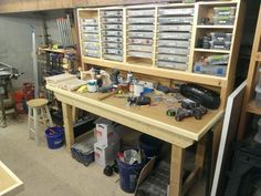 Build Workbench with Extra Storage Compartments DIY Project Workbench Stool, Workbench Plans Diy, Workbench Designs, Workbench With Storage, Industrial Workbench, Workbench Organization, The Plan, Woodworking Shop, Woodworking Crafts