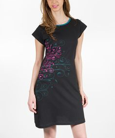 Love this Adria Mode Black Embroidered Scoop Neck Dress by Adria Mode on #zulily! #zulilyfinds