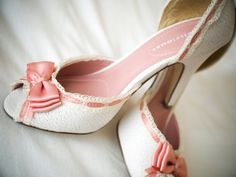 Pretty pink and white wedding shoes ~