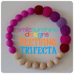 Teething Trifecta - Baby Silicone Teething, Crochet Nursing, Natural Wood Toy - The Number One Toy Your Teether Needs Smile Sunshine Designs WAHM Chew Beads
