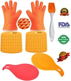 Silicone Cooking gloves  Oven Mitts Heat Resistant for Grilling BBQBarbecue Baking  Smoking With 5 Free BONUS Items  2 Spoon Rests 2 PotHolders  Trivets 1 Basting  Pastry Brush -- Want to know more, click on the image.
