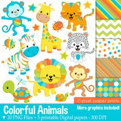 Colorful Animals Clipart Clip Art and Digital von pixelpaperprints