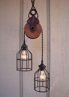 Estilo industrial vintage | Lámpara de polea • Pulley lamp, by BenclifDesigns en etsy